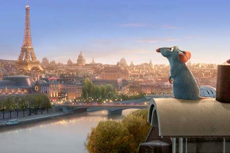 remy ratatouille in paris with eiffel tower