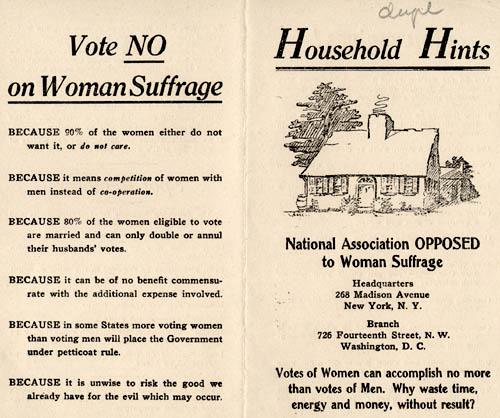 Flyer from the Women's Suffrage Movement, against the right to vote